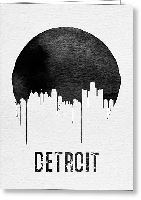 Detroit Skyline White Greeting Card
