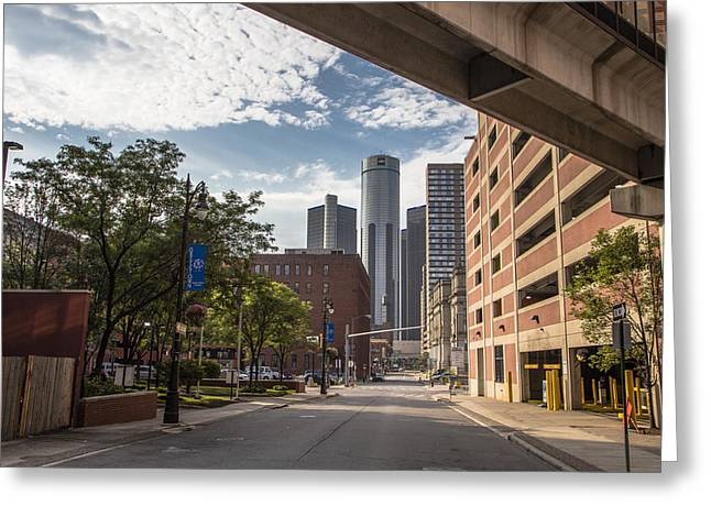 Detroit Skyline With Ren Center Color Greeting Card