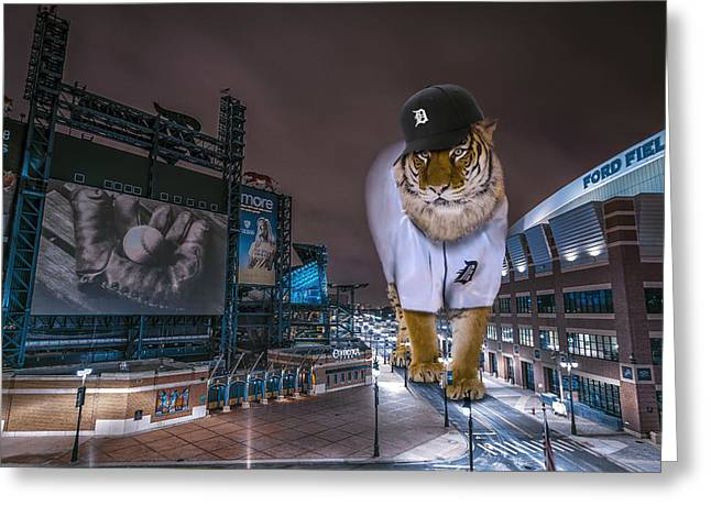 Detroit Tigers At  Comerica Park Greeting Card by Nicholas  Grunas
