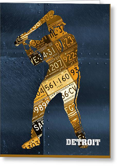 Detroit Tigers Baseball Batter Player Recycled Michigan License Plate Art Greeting Card