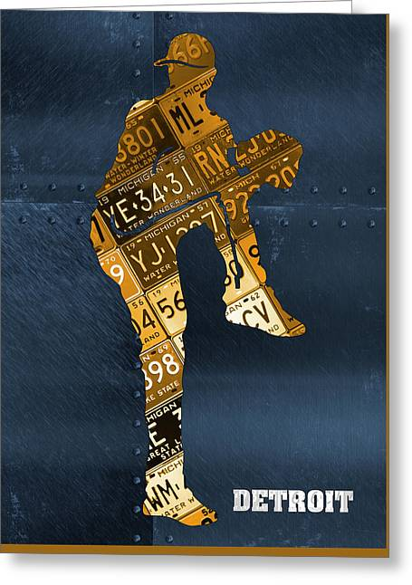 Detroit Tigers Baseball Pitcher Player Recycled Michigan License Plate Art Greeting Card
