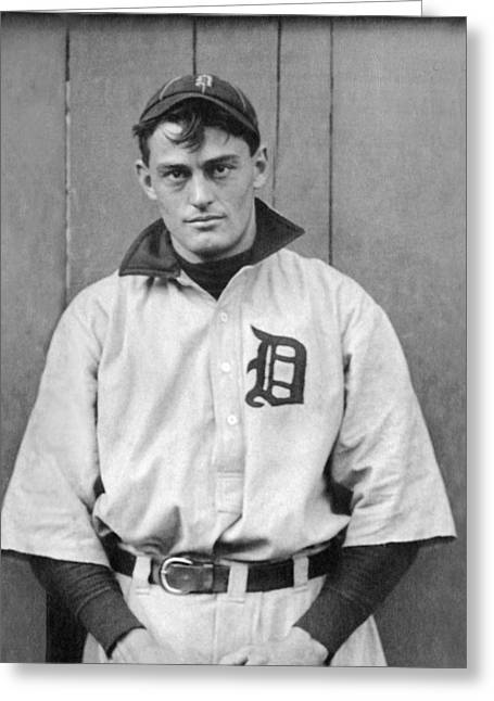 Detroit Tigers Catcher Greeting Card by Underwood Archives