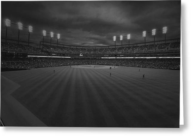 Detroit Tigers Comerica Park Bw 4930 Greeting Card by David Haskett