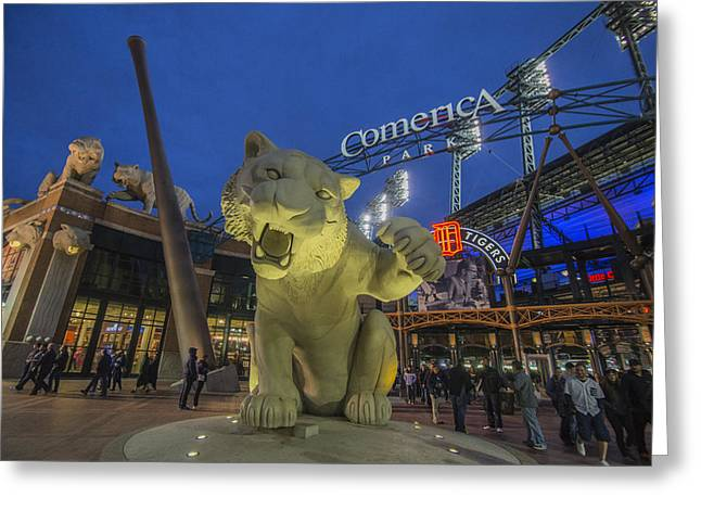 Detroit Tigers Comerica Park Front Gate Tiger Greeting Card
