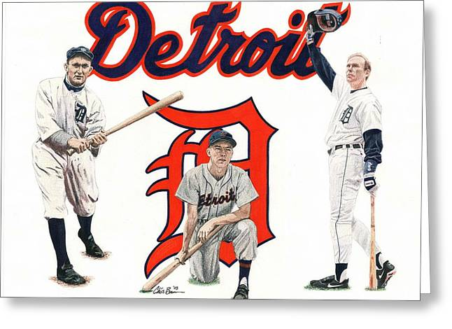 Detroit Tigers Legends Greeting Card by Chris Brown