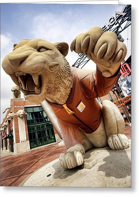 Detroit Tigers Tiger Statue Outside Of Comerica Park Detroit Michigan Greeting Card by Gordon Dean II