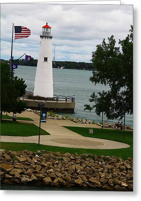 Detroit Waterfront Lighthouse Greeting Card