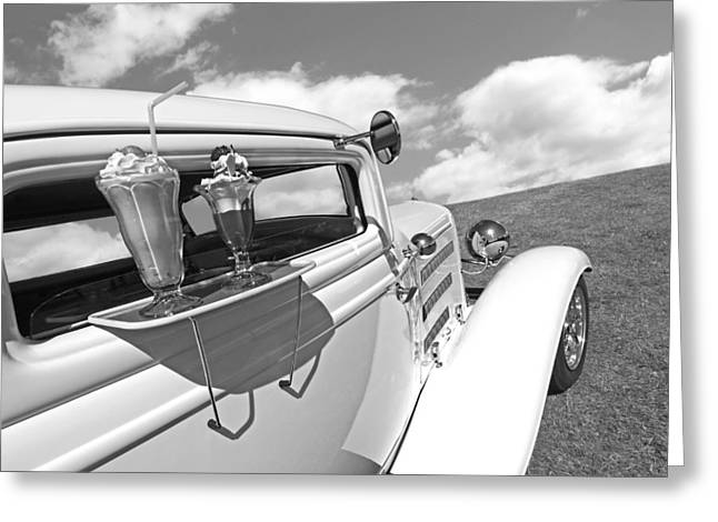 Deuce Coupe At The Drive-in Black And White Greeting Card by Gill Billington