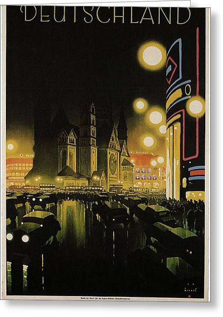 Deutschland Vintage Travel Poster - Black And Yellow Greeting Card