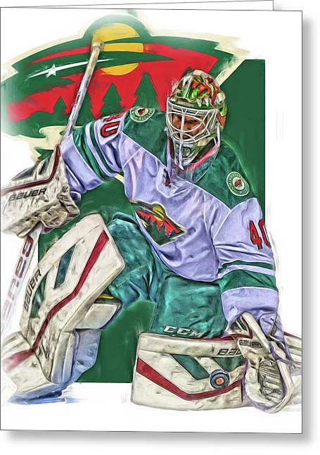 Devan Dubnyk Minnesota Wild Oil Art Greeting Card