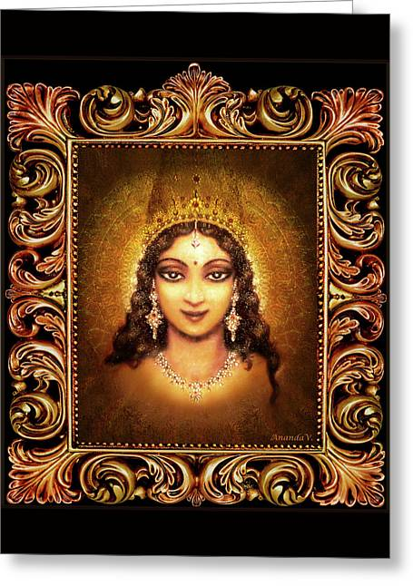 Devi Darshan In A Frame Greeting Card by Ananda Vdovic
