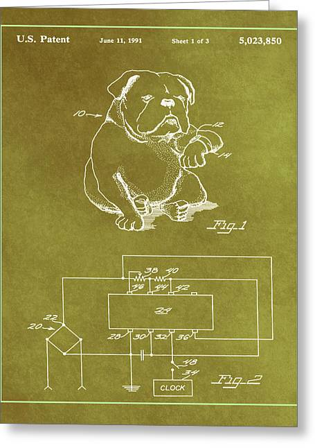 Device For Protecting Animal Ears Patent Drawing 1f Greeting Card by Brian Reaves