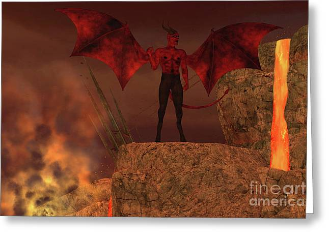 Devil Creature In Hell Greeting Card