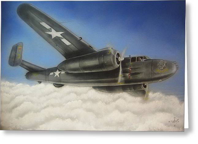 Devil Dog Airplane In Flight Greeting Card by Jonathan Anderson