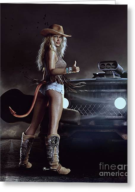 Greeting Card featuring the digital art Devil In Blue Jeans by Shanina Conway