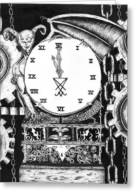 Devil In The Clock Greeting Card