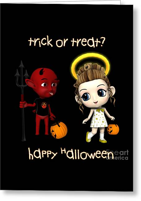 Devil Or Angel Trick Or Treat Greeting Card by Methune Hively