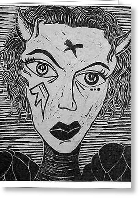 Devil Print Two Out Of Five  Greeting Card by Thomas Valentine