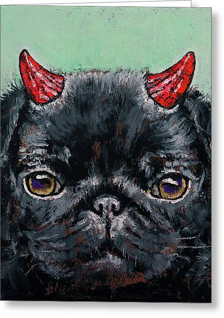 Devil Pug Greeting Card by Michael Creese