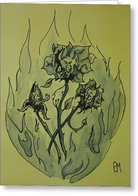 Flash Drawings Greeting Cards - Devil Roses Greeting Card by Pete Maier