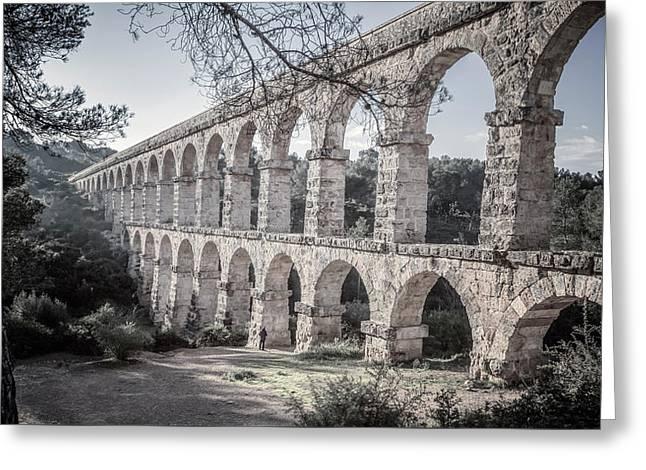 Devils Bridge Tarragona Spain Desaturated Greeting Card