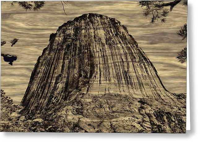 Devils Tower Woodburning Greeting Card by John M Bailey