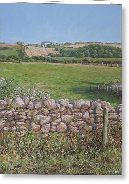 Greeting Card featuring the painting Devon Field And Drystone Wall by Martin Davey