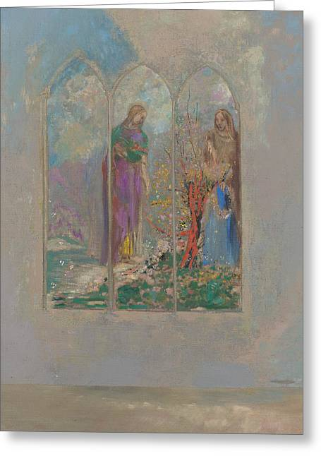 Devotion Near A Red Bush  Greeting Card by Odilon Redon
