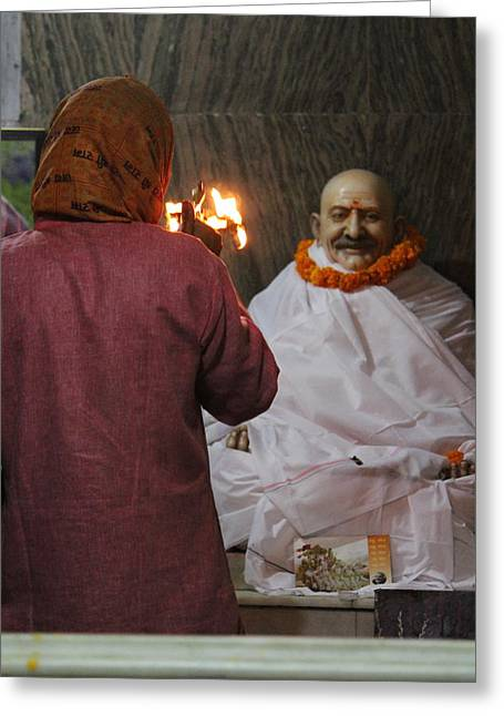 Devotion To Baba, Vrindavan Greeting Card by Jennifer Mazzucco