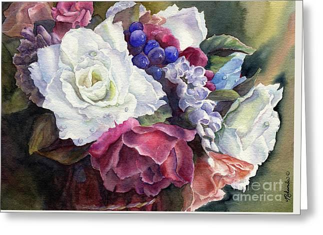 Dewdrops On Roses Greeting Card by Malanda Warner