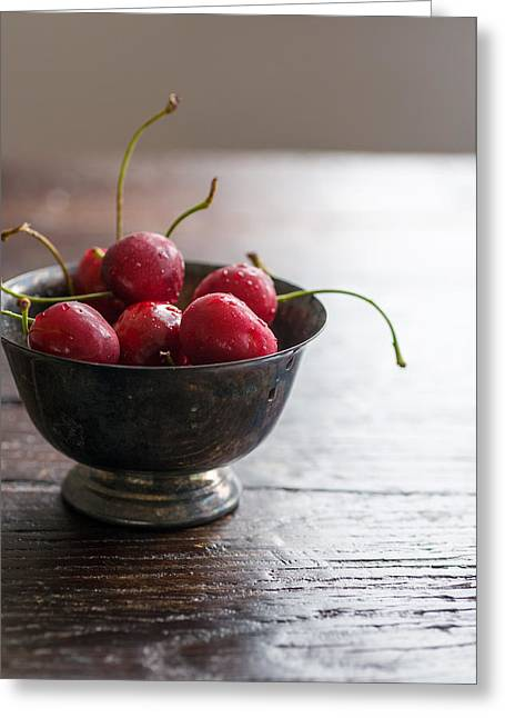 Dewy Cherries Greeting Card