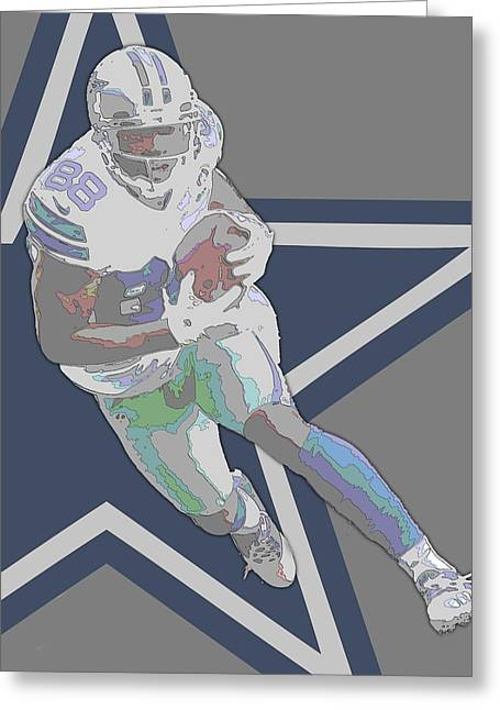 Dez Bryant Dallas Cowboys Contour Art Greeting Card by Joe Hamilton