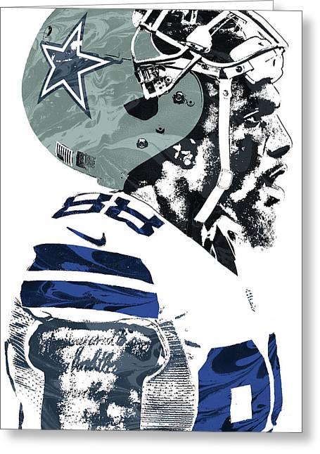 Greeting Card featuring the mixed media Dez Bryant Dallas Cowboys Pixel Art 4 by Joe Hamilton