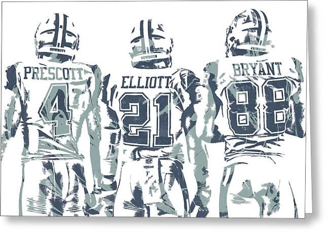 Dez Bryant Ezekiel Elliott Dak Prescott Dallas Cowboys Pixel Art Greeting Card