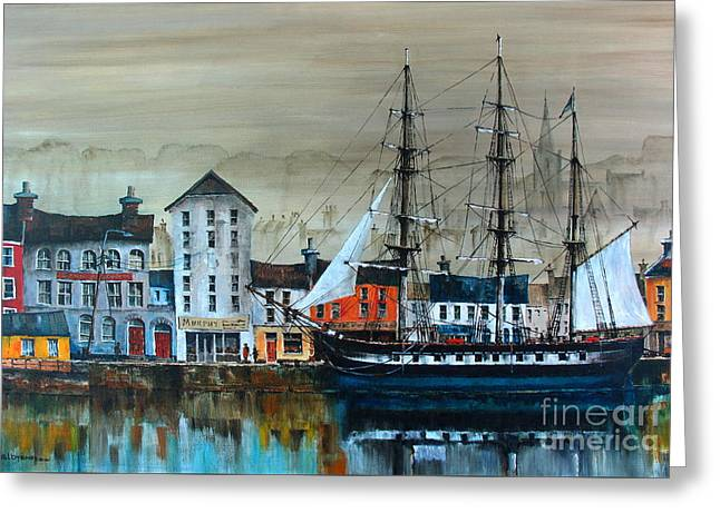 Ireland Canada Links.. The'' Dunbrody'' Famine Ship In New Ross, Wexford Greeting Card by Val Byrne