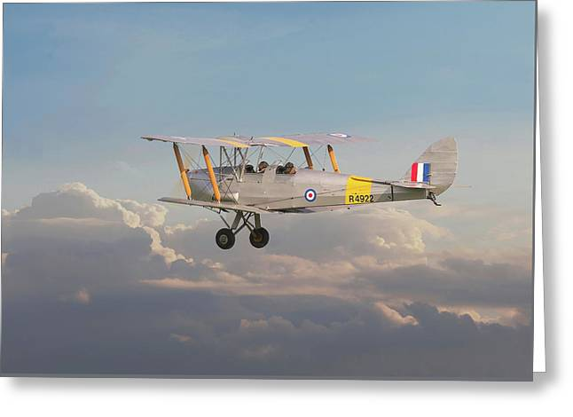 Dh Tiger Moth - 'first Steps' Greeting Card by Pat Speirs