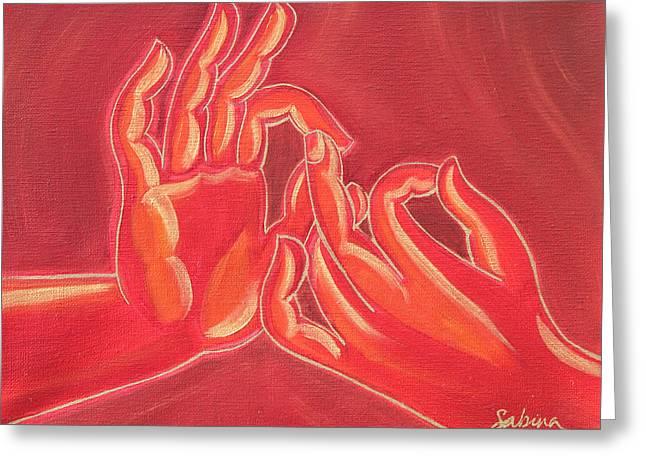 Dharmachakra Mudra Greeting Card by Sabina Espinet