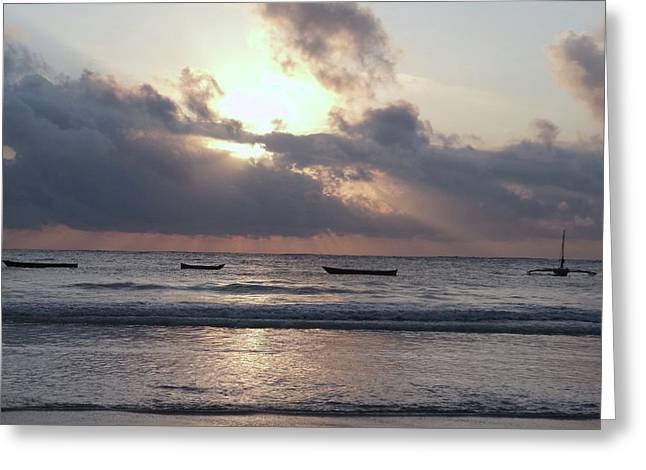 Dhow Wooden Boats At Sunrise 1 Greeting Card