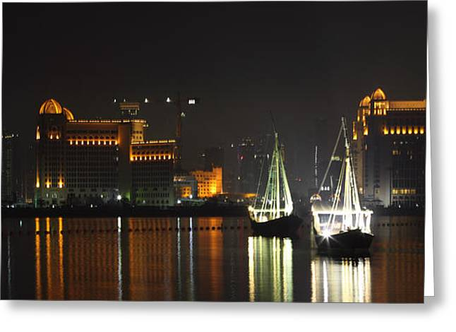 Dhows In West Bay Doha Greeting Card by Paul Cowan