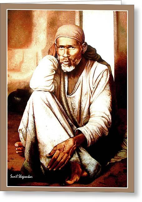 Dhyani sai painting by saibaba shirdi dhyani sai greeting card by saibaba shirdi m4hsunfo