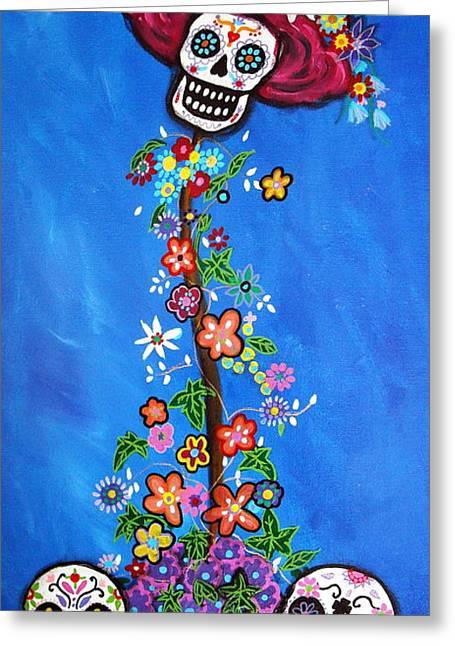 Greeting Card featuring the painting Dia De Los Muertos by Pristine Cartera Turkus
