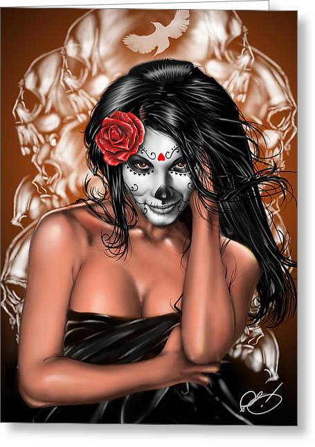 Lady Greeting Cards - Dia de los Muertos Remix Greeting Card by Pete Tapang