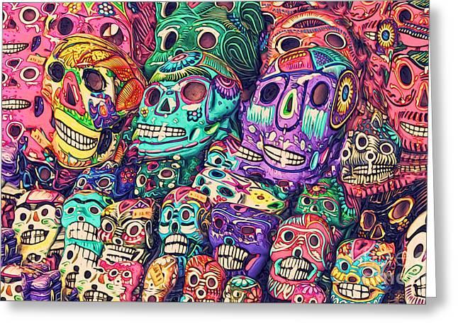 Dia De Los Muertos Sugar Skulls Greeting Card by Gregory Dyer