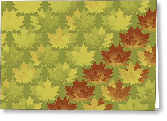 Greeting Card featuring the digital art Diagonal Leaf Pattern by Methune Hively