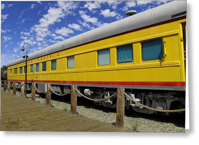 Diagonal On The Rails Greeting Card by S Lynn Lehman