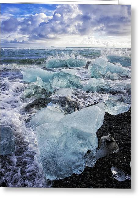 Greeting Card featuring the photograph Diamond Beach Blue Ice In Iceland by Matthias Hauser