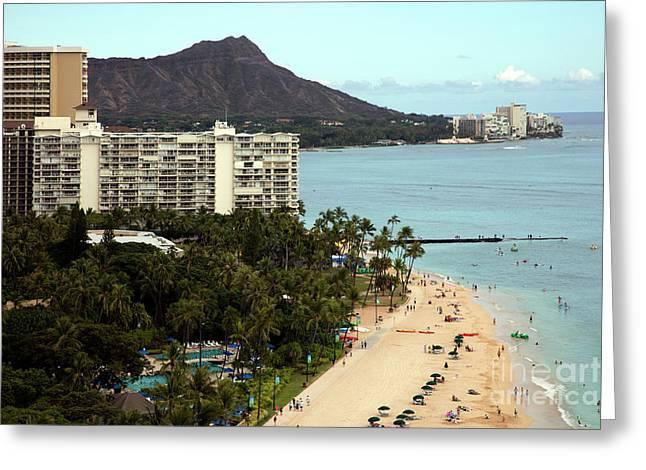 Diamond Head And Waikiki Beach Greeting Card by Bill Cobb