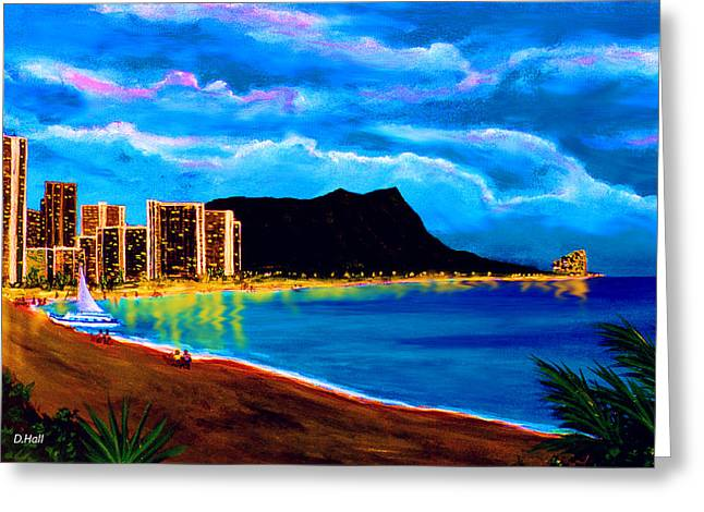 Diamond Head And Waikiki Beach By Night #92 Greeting Card by Donald k Hall
