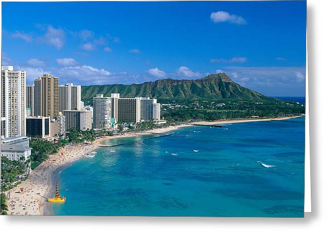 Surfing Photos Greeting Cards - Diamond Head And Waikiki Greeting Card by William Waterfall - Printscapes