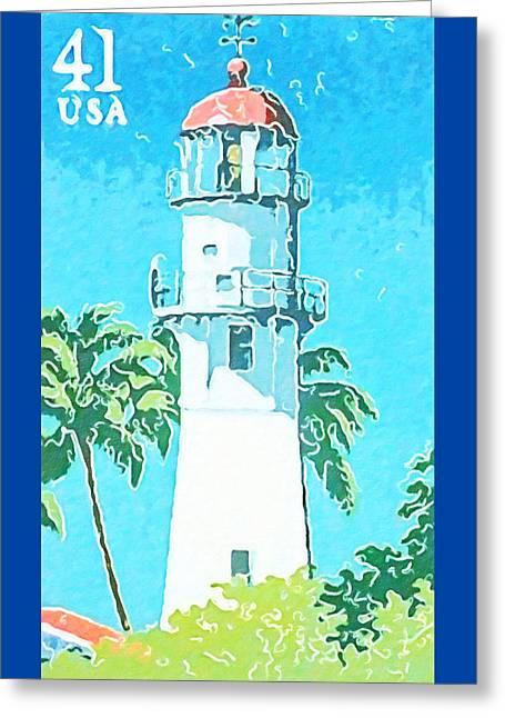 Diamond Head Lighthouse Greeting Card by Lanjee Chee